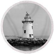 Old Saybrook Connecticut Lighthouse Round Beach Towel