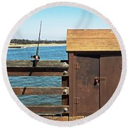 Round Beach Towel featuring the photograph Old Shed On Ventura Pier by Susan Wiedmann