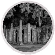 Old Sheldon Church At Night Round Beach Towel