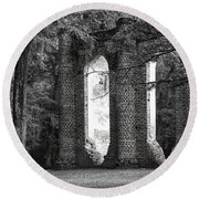 Old Sheldon Church Side View Round Beach Towel