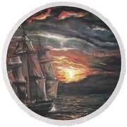Old Ship Of The Sea Round Beach Towel by Peter Suhocke