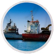 Round Beach Towel featuring the photograph Old Ships by Kevin Desrosiers