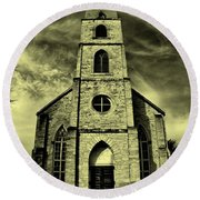 Old St. Mary's Church In Fredericksburg Texas In Sepia Round Beach Towel