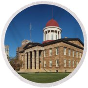 Old State Capital Springfield Illinois Round Beach Towel