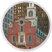 Old State House Round Beach Towel