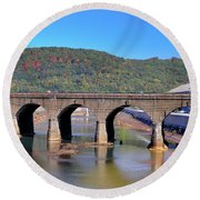 Old Stone Bridge - Johnstown Pa Round Beach Towel