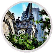 Round Beach Towel featuring the photograph Old Stone Church - Cleveland Ohio - 1 by Mark Madere