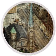 Old Stone Church Round Beach Towel