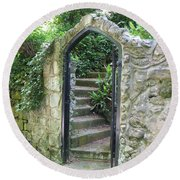 Old Stone Gate Round Beach Towel