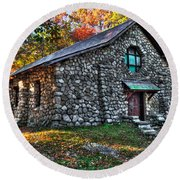 Old Stone Lodge Round Beach Towel