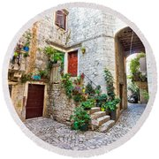 Old Stone Street Of Trogir Round Beach Towel