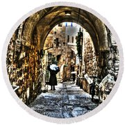 Round Beach Towel featuring the photograph Old Street In Jerusalem by Doc Braham