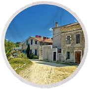 Old Streets Of Susak Island Round Beach Towel