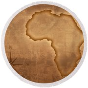Old Style Africa Map Round Beach Towel