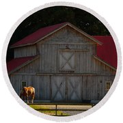 Round Beach Towel featuring the photograph Old-style Horse Barn by Jordan Blackstone