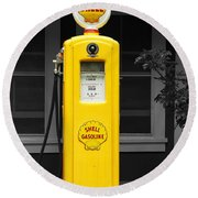 Old Time Gas Pump Round Beach Towel