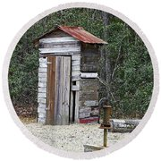 Old Time Outhouse And Pitcher Pump Round Beach Towel
