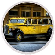Old Time Yellowstone Bus II Round Beach Towel