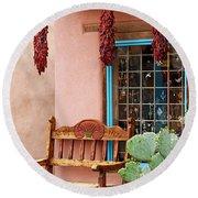 Old Town Albuquerque Shop Window Round Beach Towel