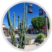Old Town Cactus Round Beach Towel