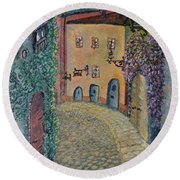 Round Beach Towel featuring the painting Old Town In Piedmont by Felicia Tica