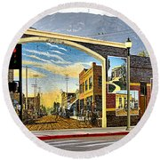 Old Town Mural Round Beach Towel