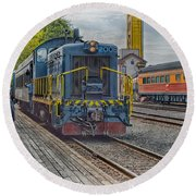 Old Town Sacramento Railroad Round Beach Towel