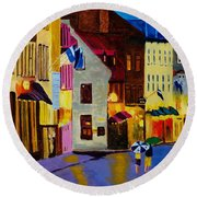 Round Beach Towel featuring the painting Old Towne Quebec by Rodney Campbell