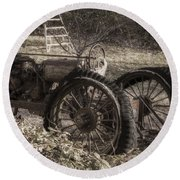 Round Beach Towel featuring the photograph Old Tractor by Lynn Geoffroy