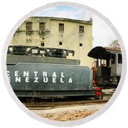 Old Trains Being Restored, Havana, Cuba Round Beach Towel by Panoramic Images