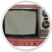 Vintage Tv Set Round Beach Towel