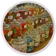 Old Village Mercantile Caledonia Mo Candy Jars Dsc04014 Round Beach Towel