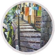 Old Village Stairs - In Tuscany Italy Round Beach Towel by Carol Wisniewski