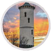 The Tower In The Fire. Round Beach Towel