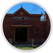 Old West Fire Station Round Beach Towel
