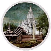 Old Whitewashed Lemyethna Temple Round Beach Towel