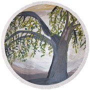 Old Willow Round Beach Towel by Cathy Anderson