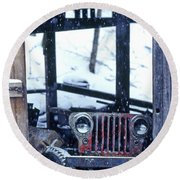 1g25 Old Willys Jeep In Old Barn Round Beach Towel