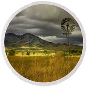Old Windmill Round Beach Towel by Robert Bales