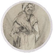 Old Woman From Normandy Full Face Pencil On Paper Round Beach Towel