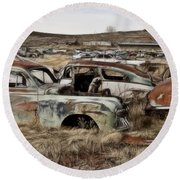 Old Wrecks Round Beach Towel