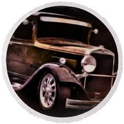Vehicles Round Beach Towel featuring the photograph Oldie by Aaron Berg