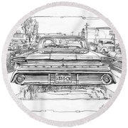Oldsmobile 88 Study Round Beach Towel