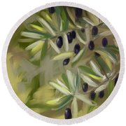Round Beach Towel featuring the painting Olive Tree by Go Van Kampen