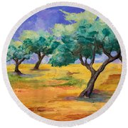 Olive Trees Grove Round Beach Towel