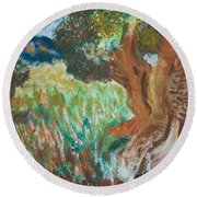 Round Beach Towel featuring the painting Olive Trees by Teresa White