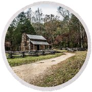 Round Beach Towel featuring the photograph Oliver's Log Cabin by Debbie Green