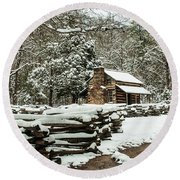 Round Beach Towel featuring the photograph Oliver's Log Cabin Nestled In Snow by Debbie Green
