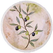 Olives Painting Round Beach Towel