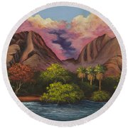 Olowalu Valley Round Beach Towel